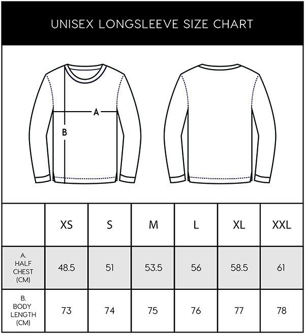 mountain merch size chart long sleeve