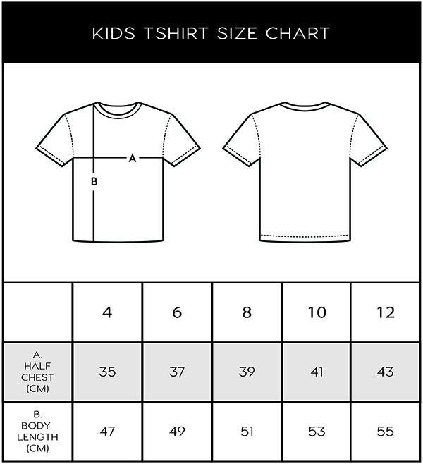 Mountain Merch Kids tees size chart