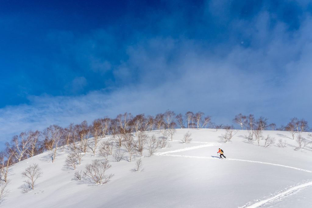 ascending mountain on gentle skin track