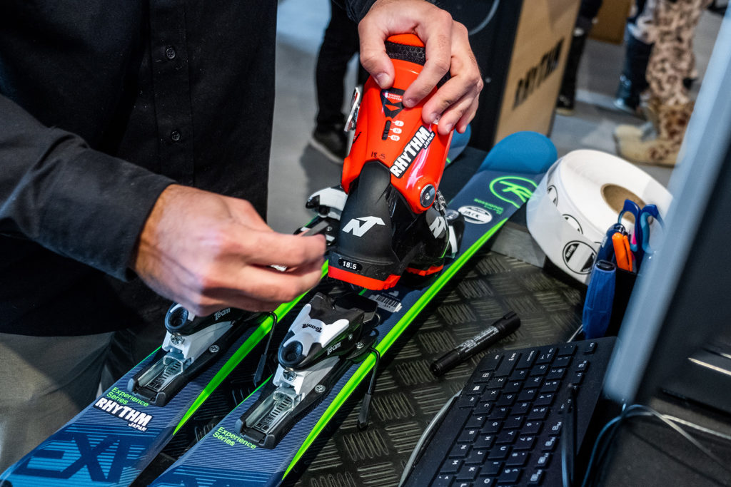 Rhythm stocks the best new skis and boots for rent